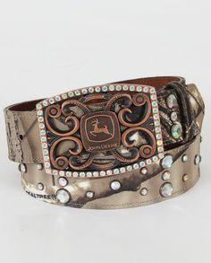 John Deere® Ladies' Camoflage Rhinestone Belt :: Fort Western Online $37