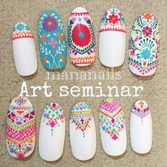 Here are some hot nail art designs that you will definitely love and you can make your own. You'll be in love with your nails on a daily basis. White Nail Designs, Colorful Nail Designs, Nail Art Designs, Nails Design, Gel Nail Art, Gel Nails, Trendy Nails, Cute Nails, Bohemian Nails