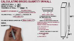 How to calculate quantity of bricks for walls? In this tutorial we will explain the most simple method of calculating quantity of bricks in given wall. Civil Engineering Handbook, Civil Engineering Design, Civil Engineering Construction, Building A House Checklist, Building Costs, Concrete Mix Design, Building Foundation, Electrical Plan, Best Pens