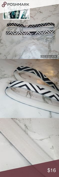 Nike Headband Pair 🕊️Make an Offer🕊️ •These Chevron Nike headbands are perfect for anything, they hold your hair back and look stylish. They have the non-slip lining on the inside (shown in last picture). The top headband was worn once out shopping. Nike Accessories Hair Accessories