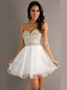 A-line Sweetheart Tulle Short/Mini Rhinestone Cocktail Dresses #homecoming #dresses #white