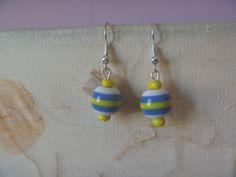 Bird Earrings, Earrings Photo, Drop Earrings, Lanyard Necklace, Nickel Free Earrings, Blue Yellow, Green, Star Shape, Poet