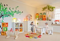 Bright, fun kids space by Lullaby Australia with Green Lullaby products - Multiboxes, cradle, Benz table & chair and doll house Room Layout Design, Room Layouts, Girls Bedroom, Bedroom Decor, Bedroom Ideas, Cama Junior, Cardboard Furniture, Toy Rooms, Vintage Interiors