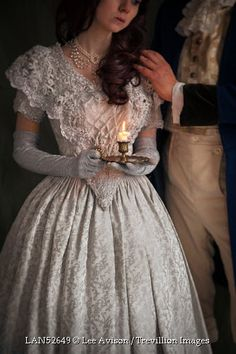 Trevillion Images - victorian-couple-with-candle Old Dresses, Pretty Dresses, Beautiful Dresses, Vintage Dresses, Vintage Outfits, Victorian Dresses, Victorian Fashion, Vintage Fashion, Victorian Era