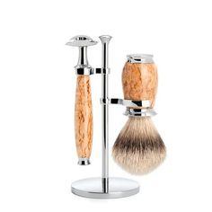 Mühle Purist 3 Piece Shaving Set Karelian Masur Birch (Silvertip Badger Hair)