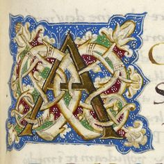 Illuminated initial A from fol. 59r of Ms. Codex 17, a 15C collection of religious treatises from Italy.  Manuscript description and digital images can be found here at OPenn. http://openn.library.upenn.edu/Data/0002/html/mscodex17.html