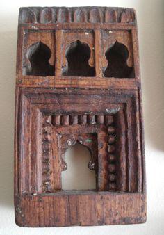 Antique Indian Carved Shrine Wood Sculpture Interior Design / Decoration