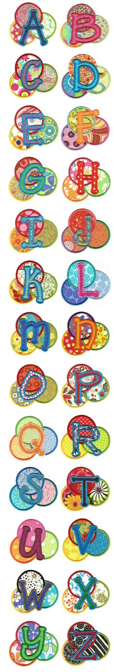 Delightful Dots Applique Alphabet machine embroidery designs by Designs by JuJu Applique Letters, Applique Templates, Applique Designs, Alphabet Print, Alphabet For Kids, Alphabet Soup, Machine Embroidery Applique, Embroidery Fonts, Sewing Crafts