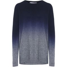 Women's Vince Ombre Sweater ($230) ❤ liked on Polyvore featuring tops, sweaters, shirts, jumpers, blue, loose sweater, crew neck shirt, oversized long sleeve shirts, long-sleeve shirt and crewneck sweaters