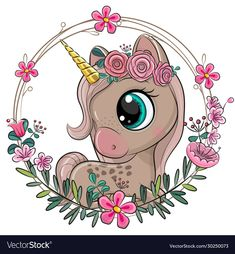 Unicorn with flowers on a blue background vector image on VectorStock Unicorn Images, Unicorn Pictures, Cute Cartoon Pictures, Cartoon Images, Cute Pictures, Cartoon Baby Animals, Baby Animal Drawings, Cartoon Unicorn, Unicorn Art