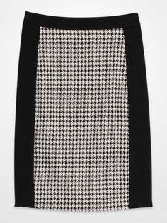 Wear to Work Cat1:Skirts - Steve Harvey Black and White Houndstooth Pencil Skirt - K Fashion Superstore