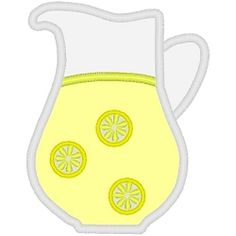 Lemonade Pitcher Applique - 3 Sizes!   What's New   Machine Embroidery Designs   SWAKembroidery.com Band to Bow