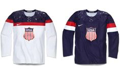"""On Tuesday, Nike unveiled the home and away jerseys Team USA hockey will wear for the 2014 Olympics. According to Nike, """"the USA Hockey Crest has been enlarged and refined to reflect the aesthetic. Team Usa Hockey, Hockey News, Olympic Hockey, Men's Hockey, Olympic Games, Olympic Team, Soccer, Usa Olympics, Winter Olympics"""