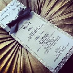 Silver ribbon & glitter wedding menu great for weddings, sweet sixteens, birthdays, engagement parties, and other events. Glitter Wedding, Bling Wedding, Our Wedding, Dream Wedding, Silver Glitter, Wedding Ideas, Silver Paper, Glitter Gel, Wedding Stuff