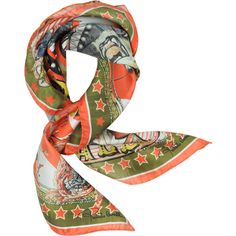 Roberto Cavalli Square Scarves Circus and Star Print Silk Square Scarf (€125) ❤ liked on Polyvore featuring accessories, scarves, pure silk scarves, roberto cavalli, square scarves, star scarves and formal shawl