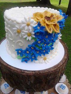 Delphinium, Daisies, and Sunflowers - Cake by K Blake Jordan ...