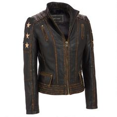 Black Rivet Distressed Stars and Stripes Center Zip Leather Jacket $299.99 …