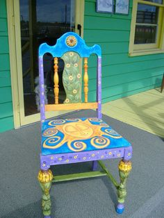 Hand Painted Chair by Bill Leaseburg