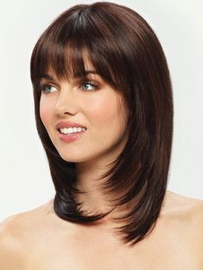 COM, you can find the best synthetic wigs America. We also have synthetic lace front wigs. To your surprise, our synthetic wigs cheap and have high quality, come and get them right now! Haircuts For Medium Hair, Medium Hair Cuts, Medium Hair Styles, Short Hair Styles, Short Brown Hair, Brunette Hair, Blonde Hair, Short Haircut, Layered Hair