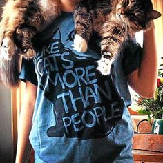 Great photo of our I Like Cats More Than People tee by our friend mycatmoon! #animalhearted #animalheartedapparel