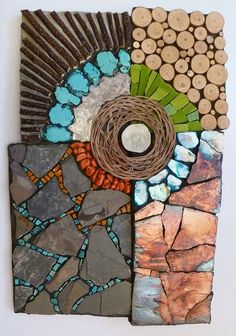 Fragile Earth, beautiful mosaic by Kathy ThadenMosiacs challenge your positioning skills Tile on top of surfaces, tiles in crevices.mosaic artists using slate Mosaic Crafts, Mosaic Projects, Art Projects, Stone Mosaic, Mosaic Glass, Glass Art, Sea Glass, Mosaic Designs, Mosaic Patterns