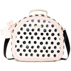 Betsey Johnson Dot Suitcase ($75) ❤ liked on Polyvore featuring bags, luggage and dots