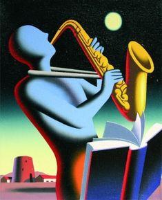 Take Note by Mark Kostabi, 30 x 25 cm Mark Kostabi, Night Gallery, Jazz Art, Illustrations, Cubism, Contemporary Artists, Art Images, Surrealism, Pop Art