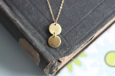 Gold Disc Necklace -  Gold Circle Jewelry -  Double Disc Droplet Necklace - 14 Karat Gold Filled - EVERYDAY JEWELRY. $32.00, via Etsy.