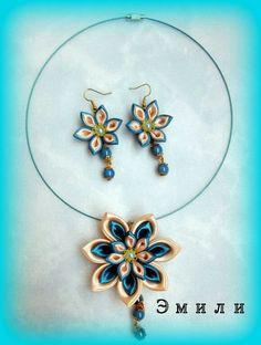 Ribbon Jewelry, Ribbon Necklace, Ribbon Art, Fabric Jewelry, Ribbon Crafts, Flower Necklace, Flower Crafts, Diy Jewelry, Kanzashi Flowers
