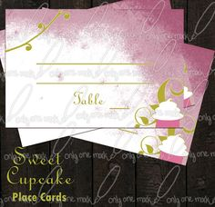 Place Cards Sweet Cupcake by OnlyOneMarkINC on Etsy, $10.00