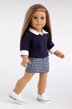 School Girl - Navy blue blouse with plaid skirt (shoes not included) - 18 Inch American Girl Doll Clothes  Price : $21.97 http://www.dreamworldcollections.com/School-Girl-included-American-Clothes/dp/B004OTACII