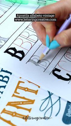 Doodle Lettering, Letter Stencils, Calligraphy Alphabet, Lettering Tutorial, Letterpress, Creative Art, Pencil Drawings, Doodles, Bullet Journal