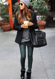 #sincerelyjules, love these forest green leather pants paired with a gray relaxed top, black coat, booties and slouchy hat