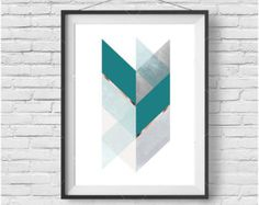 Teal Chevron Art, Geometric Print, Rose Gold Art, Teal Print, Teal Home Decor, Scandinavian Print, Abstract Art, Bedroom Art, Digital Print