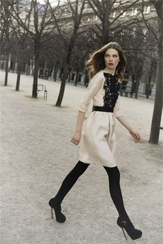 pre-fall 2013, black lace front, cream dress (christian dior).