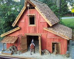 Vintage rustic barn scale by Bill Brickhouse Wooden Bird Houses, Bird Houses Painted, Bird Houses Diy, Fairy Houses, Kids Barn, Sims Freeplay Houses, Fairytale House, Bird House Feeder, Bird House Plans