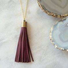 Tassle Tassle Necklace in Burgundy // Elizabeth Volk Design