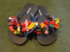Black Flip Flops with multi colored balloons. Sizes from girls 10 to womens 11.