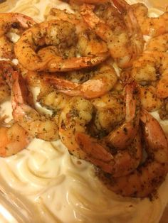 Jerk shrimp with home made Alfredo
