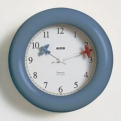 Click Image Above To Purchase: Alessi Michael Graves Kitchen Blue Wall Clock - White Hands - White Dial - White Wall Clocks, Clock Wall, Michael Graves, Modern Dinnerware, Kitchen Wall Clocks, Industrial Design Sketch, Cool Clocks, Large Clock, Blue Walls