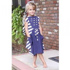 KidCuteTure Toddler Girl Navy Stripe Tie Pocket Summer Dress 2-16