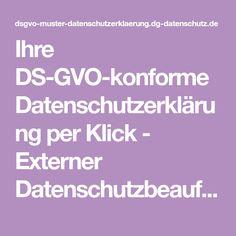 Ihre DS-GVO-konforme Datenschutzerklärung per Klick - Externer Datenschutzbeauftragter