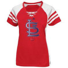 Majestic St. Louis Cardinals Women s Red Draft Me V-Neck Lace-Up T-Shirt 21d3bfd9f
