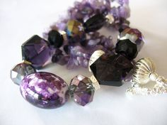 Purple Beaded Statement Necklace Faceted Czech Glass by tubbytabby, $36.00