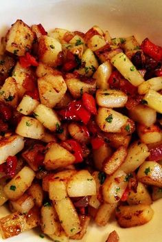 Recipe for Country Breakfast Potatoes - These Country Potatoes happen to be one of my favs!!! They are satisfying all on their own but can be kicked up by melting cheese over top or mixing in with eggs to make an over the top awesome omelet!