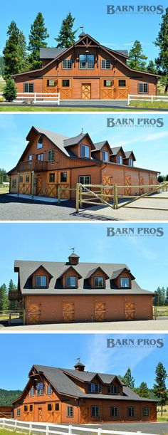 Double breezeway barn measuring wide x long - Barn Pros Equestrian gable barn kit who wants to build me this? Dream Stables, Dream Barn, Horse Stables, Horse Farms, Barn Stalls, Horse Barn Plans, Barn Kits, Barn Shop, Barn Apartment
