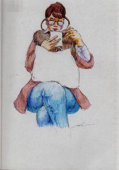 足を組んだお姉さん(通勤電車でスケッチ) This is a woman of sketch that was sitting cross-legged. I drew in a commuter train.