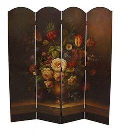 Vierteiliger Sichtschutz Trennwand Paravent mit schöner Blumenvase Dekoration…
