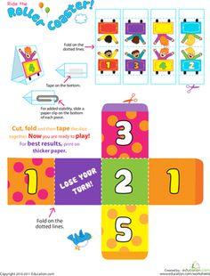 Preschool Kindergarten Printable Board Games Worksheets: Ride the Roller Coaster!