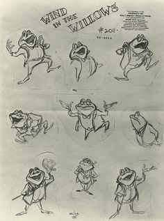 amphibian character design The Adventures of Ichabod amp; Toad Model Sheet - ID: Disney Sketches, Disney Drawings, Cartoon Drawings, Character Model Sheet, Character Modeling, Character Design, Disney Art Books, Mr Toad, Sketches